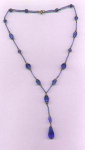 czechoslovakian faceted blue glass necklace