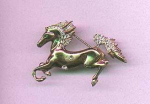 Coro sterling vermeil horse pin with rhinestones
