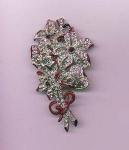 Pot metal enamel and rhinestone flower pin