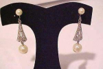 Marvella art deco style rhinestone and faux pearl earrings
