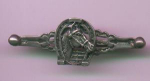 Sterling silver bar pin with horse head inside horseshoe