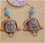 Click here to enlarge image and see more about item ga138e: Czechoslovakian Egyptian revival earrings