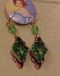 Czechoslovakian faceted green glass earrings
