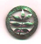 Click here to enlarge image and see more about item l508: Arts & Crafts handmade handhammered pin.  Mar