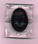 Carved lucite and bakelite cameo brooch