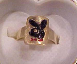 Click here to enlarge image and see more about item ring: Playboy 14k ring with playboy bunny logo
