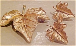 Trifari leaf pin and earrings