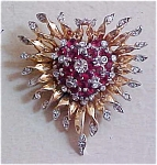 Sterling vermeil 1940's pin with rhinestones