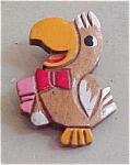 Painted wood bird pin