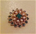 Coro rhinestone and faux pearl pin