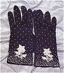 Click here to enlarge image and see more about item x1427: Black gloves with white beads
