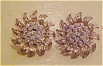 Floral design earrings with rhinestones