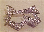 Pot metal and rhinestone pin