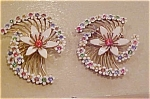 Enamel & rhinestone flower earrings