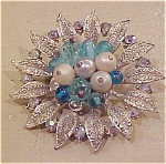 Floral design pin w/faux pearls & rhinestones