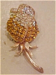 Capri flower pin with rhinestones