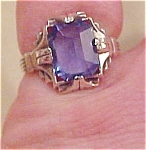 Sterling ring with blue glass