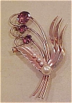 1940's sterling vermeil flower pin