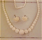 Carved bone earrings & necklace