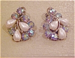 BSK earrings w/faux pearls & rhinestones