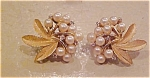 Trifari faux pearl and rhinestone earrings
