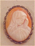 Click here to enlarge image and see more about item x1556: Shell Cameo with marcasites