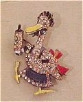 Enameled duck pin with rhinestones