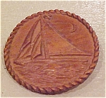 Faux wood sailboat pin
