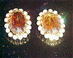 Topaz and clear rhinestone earrings