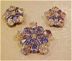 Blue/AB rhinestone earring and pin set