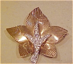 Boucher leaf pin with rhinestones