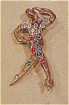Sterling vermeil rhinestone dancer pin