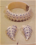 Thermoplastic bangle & earring w/rhinestones
