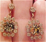 Earrings with rhinestones and glass