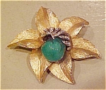 Flower pin with glass & rhinestones