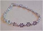 Flower bracelet with rhinestones