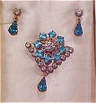 Blue and clear rhinestone pin & earring