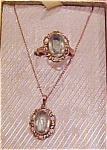 Click here to enlarge image and see more about item x1816a: Aqua glass ring and pendant set