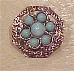 Silvertone pin with faux turquoise