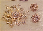 Click here to enlarge image and see more about item x1955: Rhinestone pin and earring set