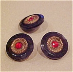3 plastic buttons with rhinestone