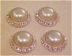 4 faux pearl and rhinestone buttons