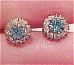 Lt blue and clear rhinestone earrings