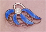 Sterling enamel scandinavian brooch