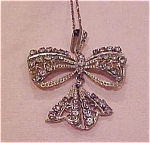 Click here to enlarge image and see more about item x2600: Edwardian bow necklace w/rhinestones