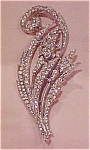 Trifari rhinestone leaf design brooch