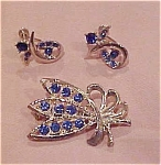 Rhinestone pin and earrings
