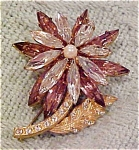 Flower pin with topaz & clear rhinestones