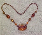 Czechoslovakian topaz glass necklace
