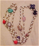 Faux pearl and glass bead necklace